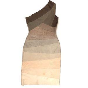 Herve Leger One Shoudler Bandage Dress Flawed